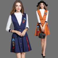 套装裙秋冬新款欧美气质针织修身刺绣麂皮绒连衣裙两件套