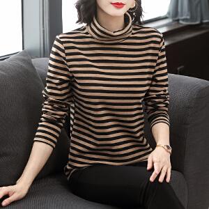 安妮纯高领打底衫女秋冬内搭2020新款宽松大码胖mm洋气长袖条纹t恤上衣