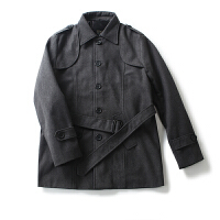 男装外套冬装 简约风纯色翻领单排扣外套长袖毛呢大衣男