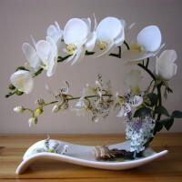 仿真蝴蝶兰套装假花盆栽装饰花中式餐桌家居客厅玄关摆件