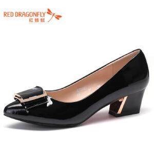 红蜻蜓女鞋春秋黑色漆皮女士皮鞋尖头浅口中跟粗跟真皮单鞋工作鞋WFB5052