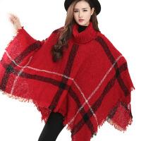 秋冬季宽松套头格子披肩围巾针织毛衣斗篷厚外套冬天