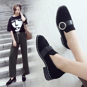 ZHR2018春季新款韩版单鞋平底休闲鞋套脚乐福鞋粗跟乖乖鞋子女鞋K69
