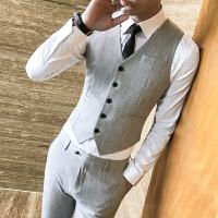 新款韩版英伦男士西装马甲套装发型师修身时尚休闲马夹裤子两件套