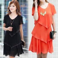 连衣裙韩版雪纺蛋糕裙胖妹妹200斤短袖薄款裙子夏季新款大码女装