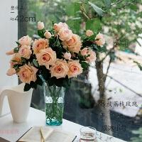 逼真手感保湿仿真玫瑰花 绢花假花荔枝玫瑰花瓶插花装饰