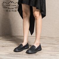 玛菲玛图中跟单鞋女厚底鞋女新款浅口圆头套脚平底鞋擦色复古乐福鞋女525-1
