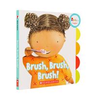 支持毛毛虫点读笔点读 英文原版 Brush, Brush, Brush! 我爱刷牙!幼儿行为习惯养成绘本 亲子阅读 0