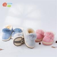 贝贝怡男女童加绒保暖棉鞋秋冬新款防滑软底宝宝鞋可爱童鞋194X163