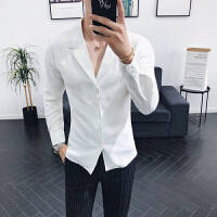男士长袖衬衫青年新款帅气西装领修身衬衣