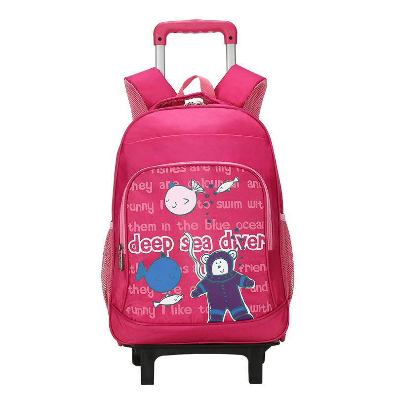[3件3折 3折价:98.7]卡拉羊儿童拉杆书包拉杆双肩包小学生书包男女童1-3-4-6年级减负CX8607