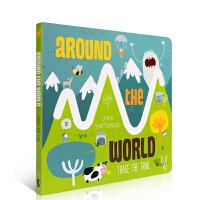 英文原版书绘本 Trace the Trail: Around the World 探索世界 手眼协调 纸板书 入门启