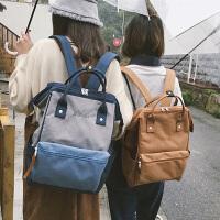 背包女双肩帆布书包韩版原宿ulzzang 高中学生学院风百搭校园简约