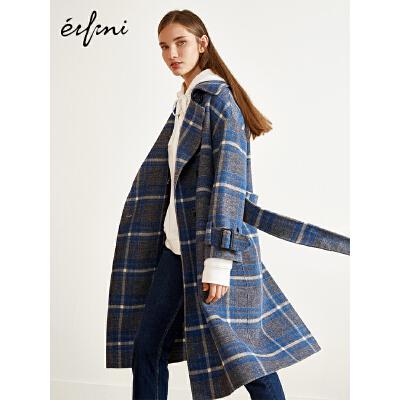2件4折 伊芙丽2018冬装新款毛呢外套长款英伦格纹羊毛双面呢大衣女