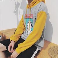 新款日系原宿秋季男士圆领后背印花卫衣长袖时尚连帽套头上衣服潮
