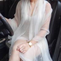 韩版女夏季丝巾透明性感冰丝学生雪纺围巾空调披肩防晒沙滩巾