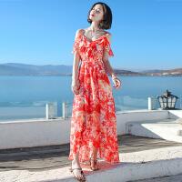 夏季新品女装荷叶边吊带裙雪纺连衣裙长裙波西米亚海边度假沙滩裙 图片色XZC523