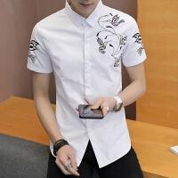 新款2018男士T恤夏季男装时尚白色衬衣夏季新品男士印花短袖潮流
