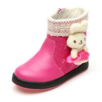 SHOEBOX/鞋柜 冬新款女童冬靴童鞋时尚拼接儿童雪地靴子短靴
