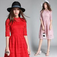 大红色结婚礼服新娘敬酒服 夏季新款修身显瘦宴会礼服连衣裙蕾丝