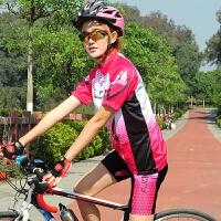 女款骑行服套装 春夏季短袖袖自行车山地车衣服女公路车衣 玫红套装