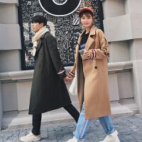 新款2018秋冬装纯色毛呢大衣韩版休闲中长款男女呢子风衣情侣外套