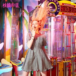 【低至1折起】妖精的口袋泡泡袖短裙春秋装新款格子木耳边纯棉a字连衣裙女