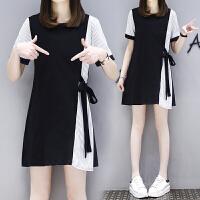 【仅限今日,满100减50】大码女装不规则连衣裙夏2018新款女气质中长款修身条纹拼接连衣裙