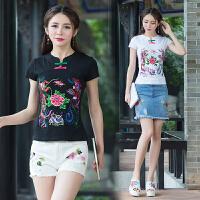 夏装新款中国风绣花打底衫 民族风女装 复古盘扣刺绣短袖T恤上衣