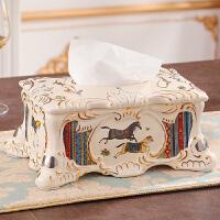 纸巾盒欧式客厅奢华复古家居装饰品陶瓷抽纸盒茶几摆件