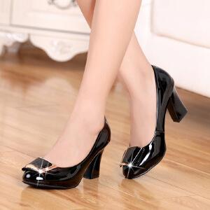 【包邮】2017春新款光面女鞋漆皮浅口粗跟正装职业鞋工作鞋女单鞋高跟女鞋3305QNML