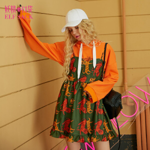 【6折价90元】妖精的口袋冬装新款荷叶边无袖吊带印花连衣裙女短裙
