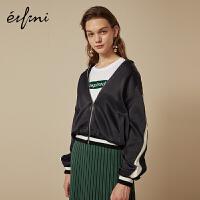 伊芙丽秋装新款休闲长袖宽松短外套港味棒球服时尚短款外套女