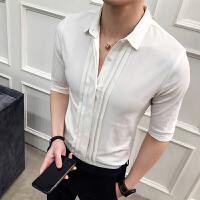 短袖衬衫男装潮七分袖白衬衣男士中袖内搭小领法式衬衣