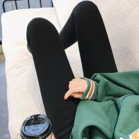 2018冬季新款加绒加厚打底裤女外穿高腰显瘦小脚裤韩版修身女裤子 典雅黑 黑色竖条 均码