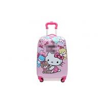 新款儿童拉杆箱卡通万向轮16寸18寸19寸旅行箱行李箱大容量 炫粉红 19寸KT猫自带锁