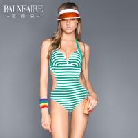 【游泳钜惠】范德安温泉泳衣女连体 新款新款性感条纹小胸聚拢游泳衣遮肚显瘦