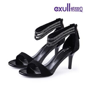 依思q夏新款凉鞋女露趾酒杯跟女鞋包跟后拉链高跟鞋