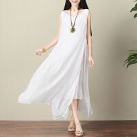 棉麻连衣裙女装夏季无袖大码中长款打底裙文艺仙气背心裙白色长裙