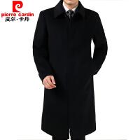 季中老年保暖呢子外套加厚男装过膝羊绒毛呢大衣长款爸爸装风衣 长款加厚加绒 黑色