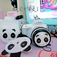 佳能EOS 200D相机套皮套保护套单反相机包原创可爱卡通熊猫 皮套+镜头盖