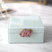 欧式现代玻璃首饰盒收纳盒新古典卧室样板间别墅软装饰品摆件 奢华玻璃首饰盒 B款 玛瑙扣