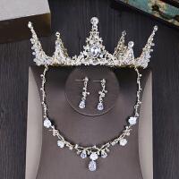 皇冠头饰新娘结婚公主王冠韩式婚纱大气耳环项链三件套饰品
