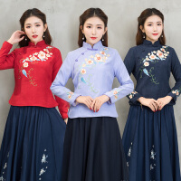 春装新款唐装女茶人服女中国风日常长袖丝绒旗袍上衣长袖衬衫