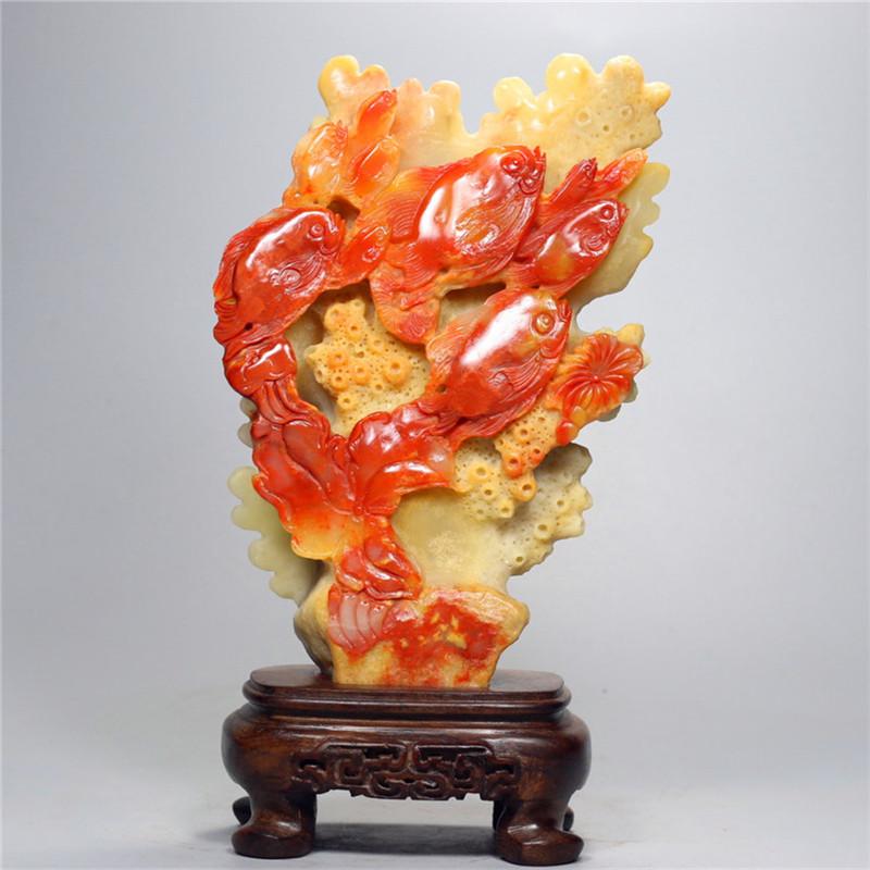 寿山芙蓉石摆件 金玉满堂