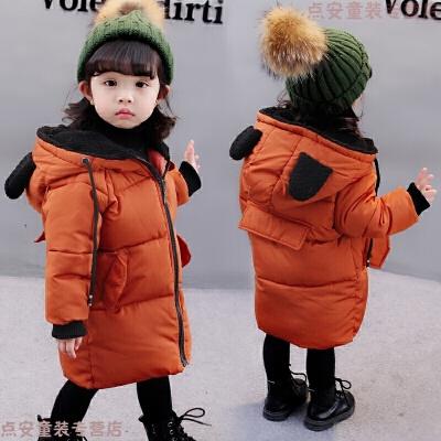女童棉衣中长款2018冬季新款1一3岁2宝宝羽绒袄外套 栋111小熊棉衣 焦糖色 发货周期:一般在付款后2-90天左右发货,具体发货时间请以与客服协商的时间为准