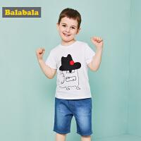 巴拉巴拉夏装2018新款童装男童短袖套装小童宝宝儿童运动衣服裤子