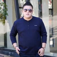 加肥加大男装长袖T恤秋冬特大号超大码胖人胖子肥佬男潮上衣