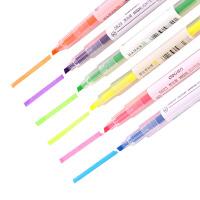 学生 得力办公6色双头荧光笔醒目重点标记笔 水性记号笔 6支/袋 S627