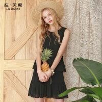 拉贝缇夏装新款韩版时尚气质雪纺百褶半身裙子两件套套装女士60005559